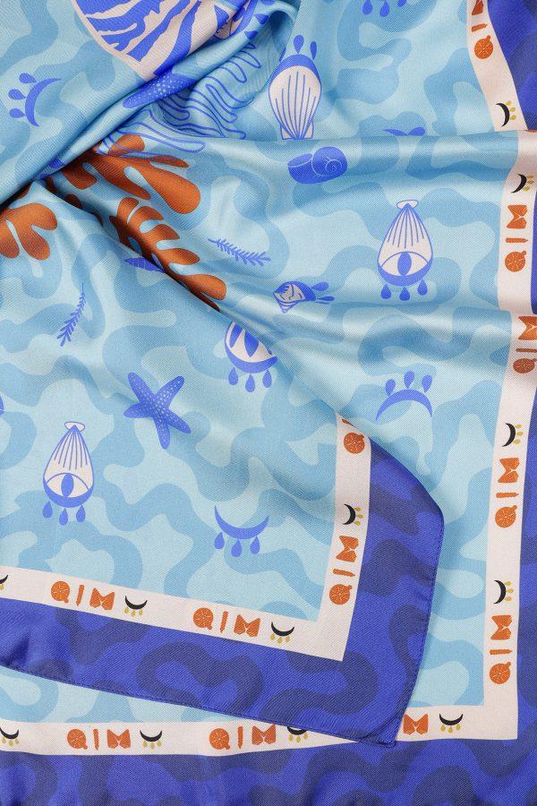 Aqua Silk Twill Scarf